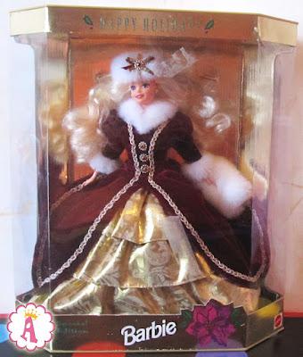 Кукла барби из серии Happy Holidays 1996 года, в коробке