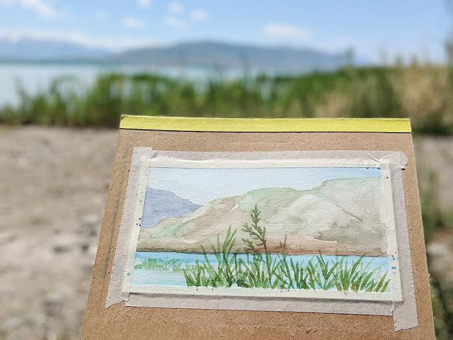 Utah Lake Watercolor Painting by Elise Engh