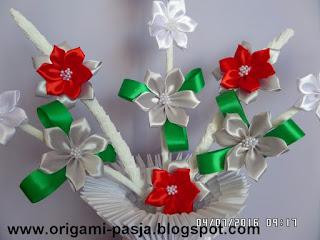 kwiaty, wazon, wstążka, ozdoba, podarunek prezent,
