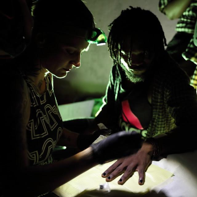 a tattoo in the dark