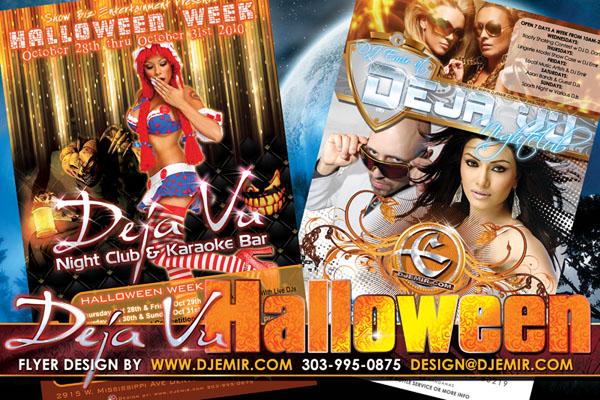 Deja Vu Nightclub Denver Halloween  Party Flyer Design