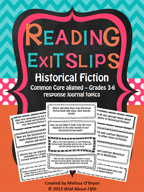 Historical Fiction Reading response journal prompts
