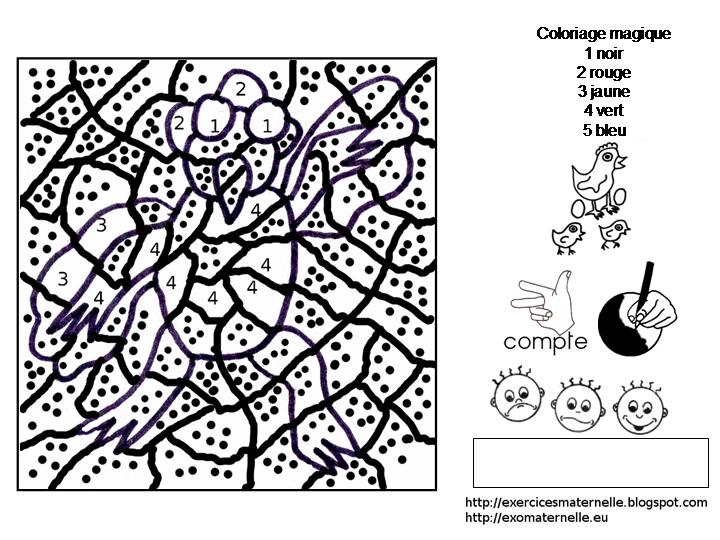 Coloriage Code Grenouille.Maternelle Coloriage Magique La Poule Grenouille
