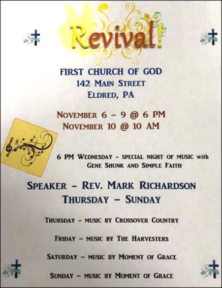 11-10 revival, Eldred, PA