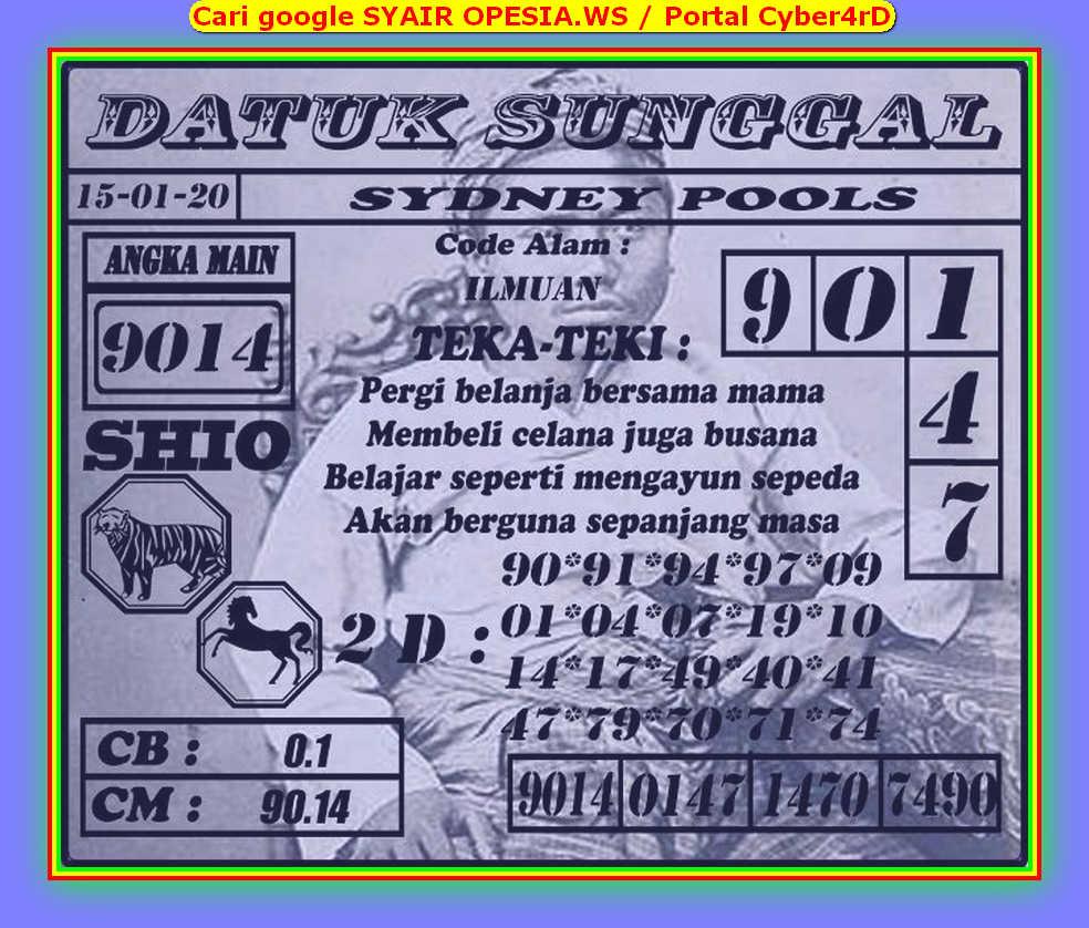 Kode syair Sydney Rabu 15 Januari 2020 85