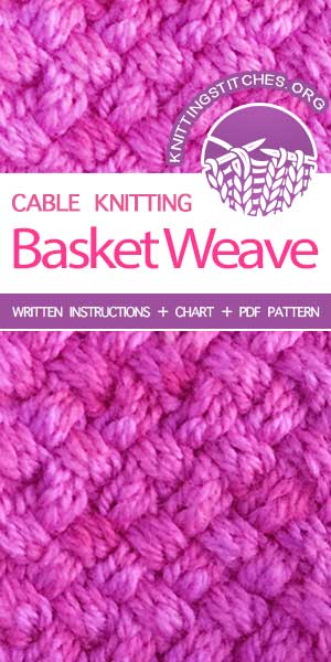 Knitting Stitches -- LEARN TO KNIT Basket Weave stitch (aka Woven Cable stitch) #learntoknit #knittingstitches