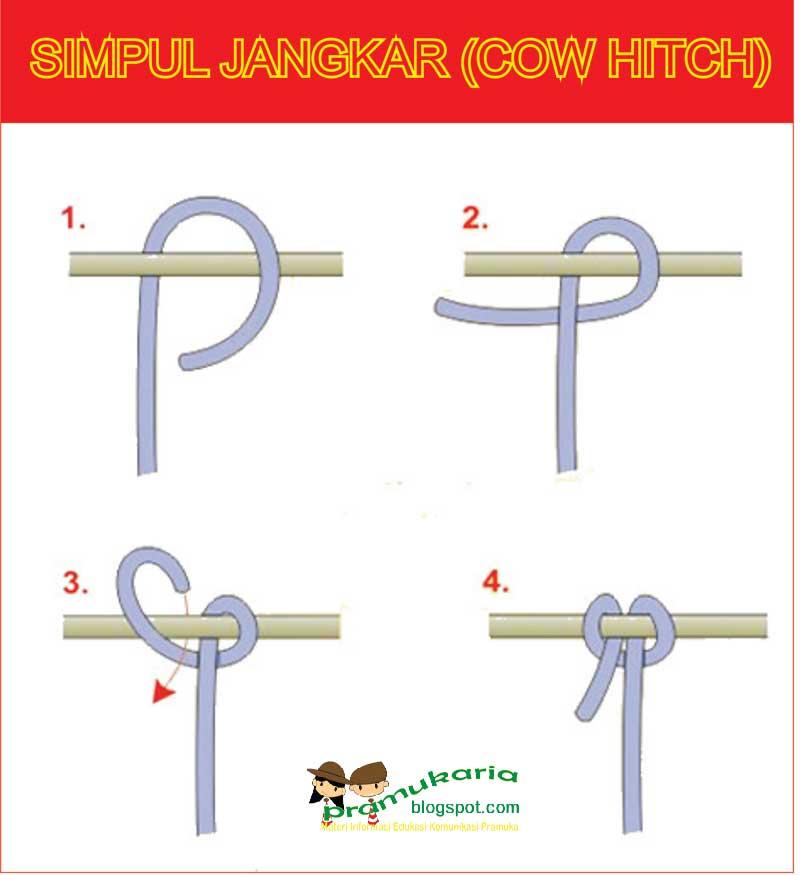 Membuat Simpul Jangkar Cow Hitch Pramuka