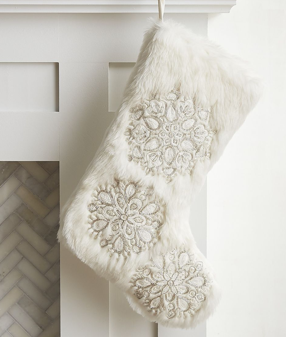 Pier One Faux Fur Snowflake Stocking