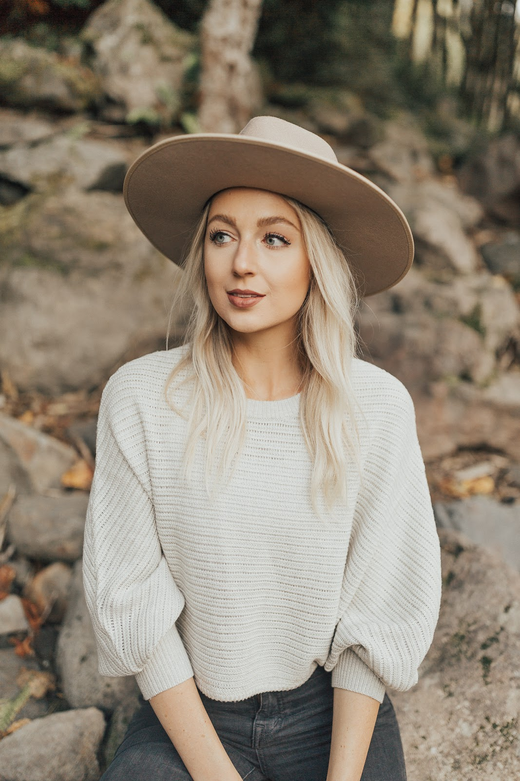 cropped sweater + wide brim wool hat