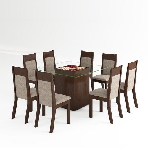 Conjunto de mesa para sala de jantar com 8 cadeiras
