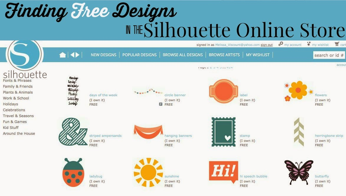 how to find download free designs in silhouette online store