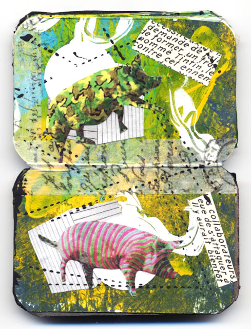 Collage book about painted pigs
