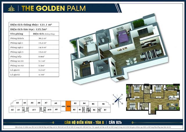 Thiết kế căn hộ A08b - B02b chung cư THE GOLDEN PALM