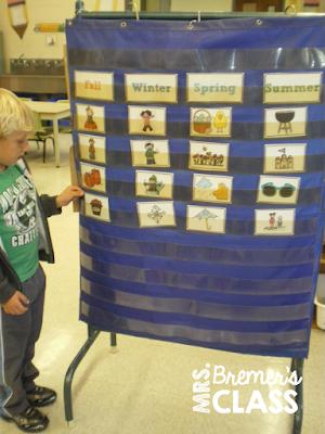 Four Seasons learning activities for Kindergarten and First Grade #seasons #sorting #kindergarten #1stgrade