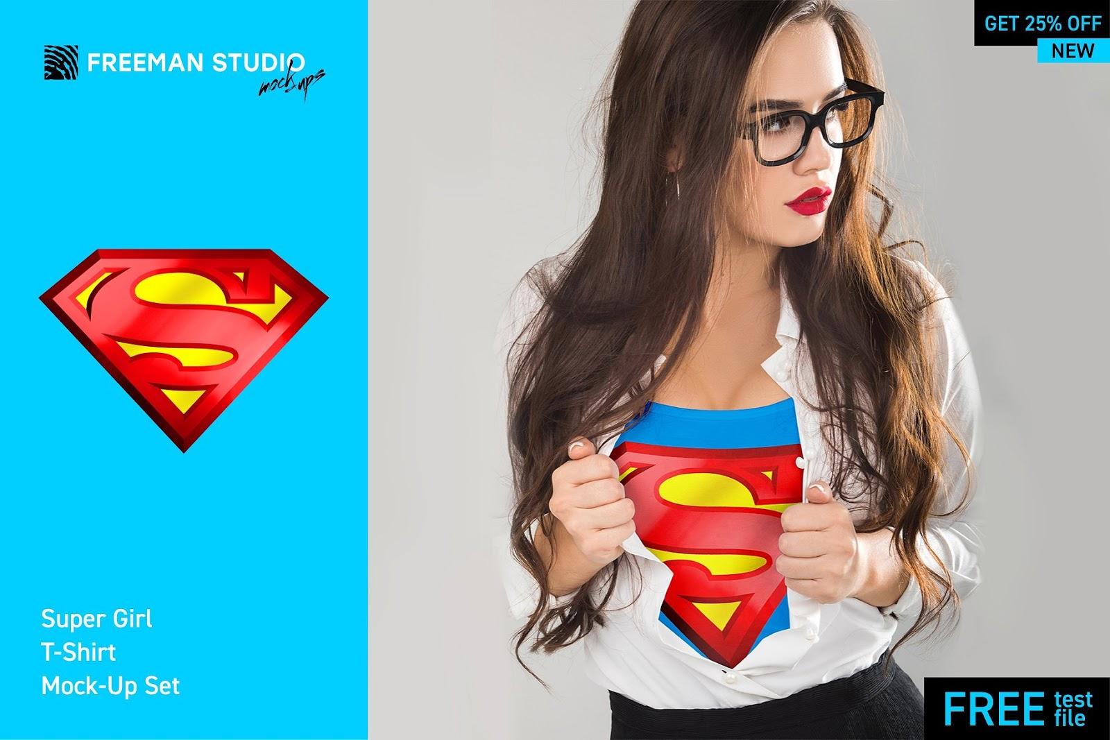 Super Girl T-Shirt Mockups