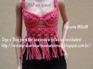 PAP top cropped em crochê para Barbie