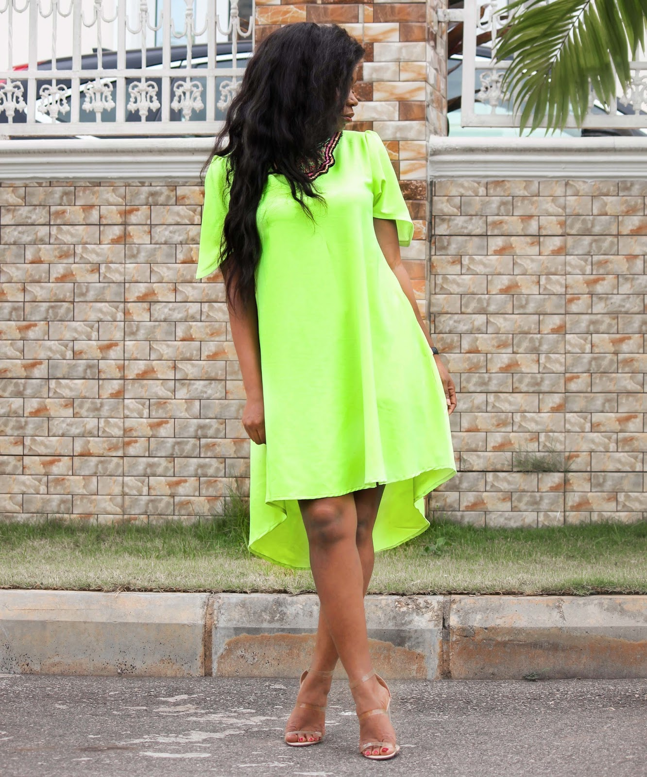NEON HI-LO SHIFT DRESS - Neon Hi-Lo Shift Dress by Porshher