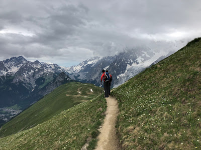 View of the trail for the two day hike. Bonatti, walking south-southeast into Valley of Malatrà. Center Left: View from Valley of Malatrà back toward Mont Blanc range. Center Right: On trail #44, descending from Testa Bernarda and heading toward Rifugio Bertone.