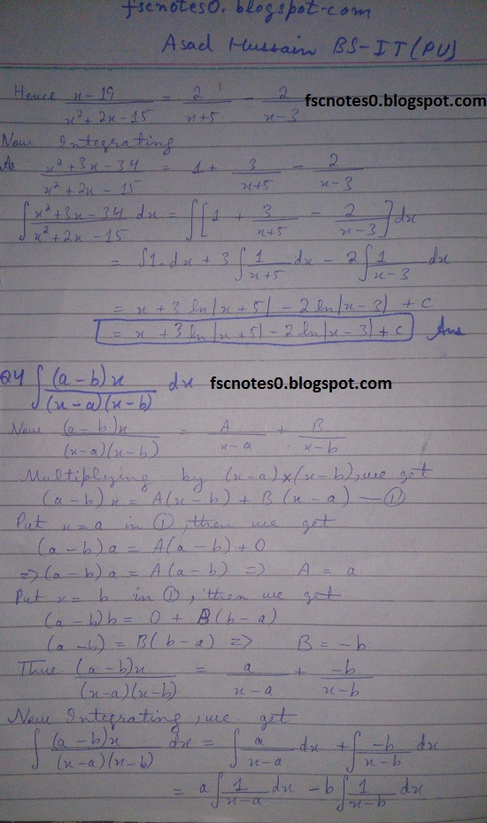 FSc ICS Notes Math Part 2 Chapter 3 Integration Exercise 3.5 question 1 - 11 by Asad Hussain 2