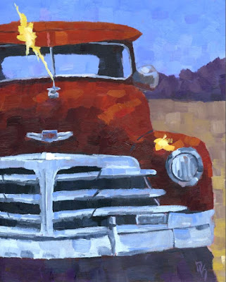 original painting art classic car Chevy 1948