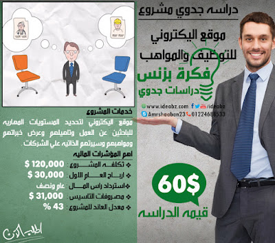 دراسه جدوي مشروع  موقع اليكتروني للتوظيف والمواهب
