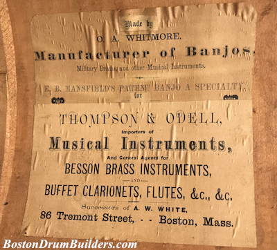 ca. 1875 O. A. Whitmore drum label for Thompson & Odell