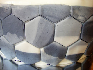 Alicatado hexagonal marmolado de fondant