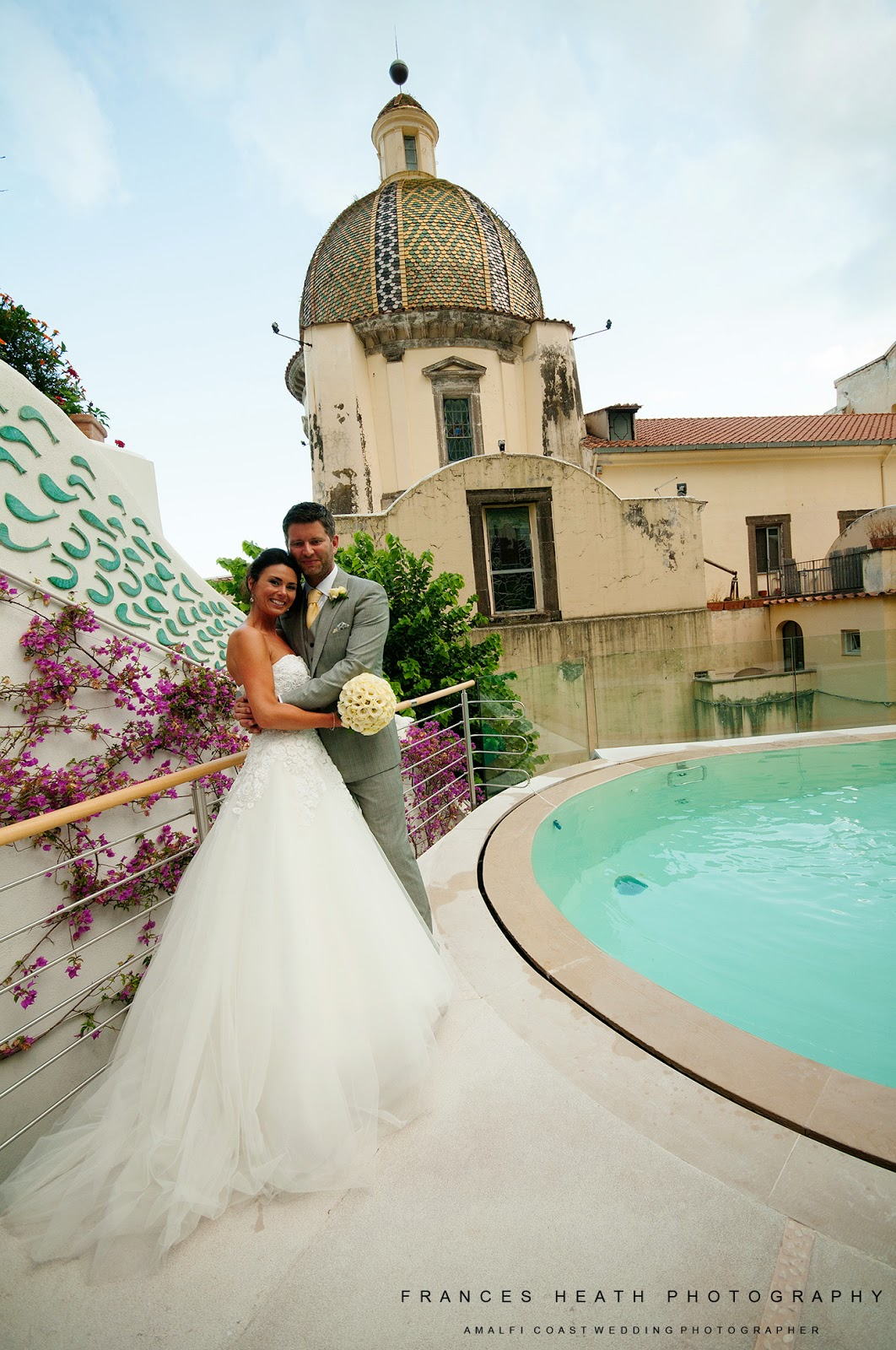 Bride and groom at Palazzo Murat in Positano