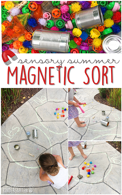 This summer fill your sensory bin with magnetic and non magnetic items then sort away! This is the perfect outdoor activity for summer tot school, preschool, or kindergarten!