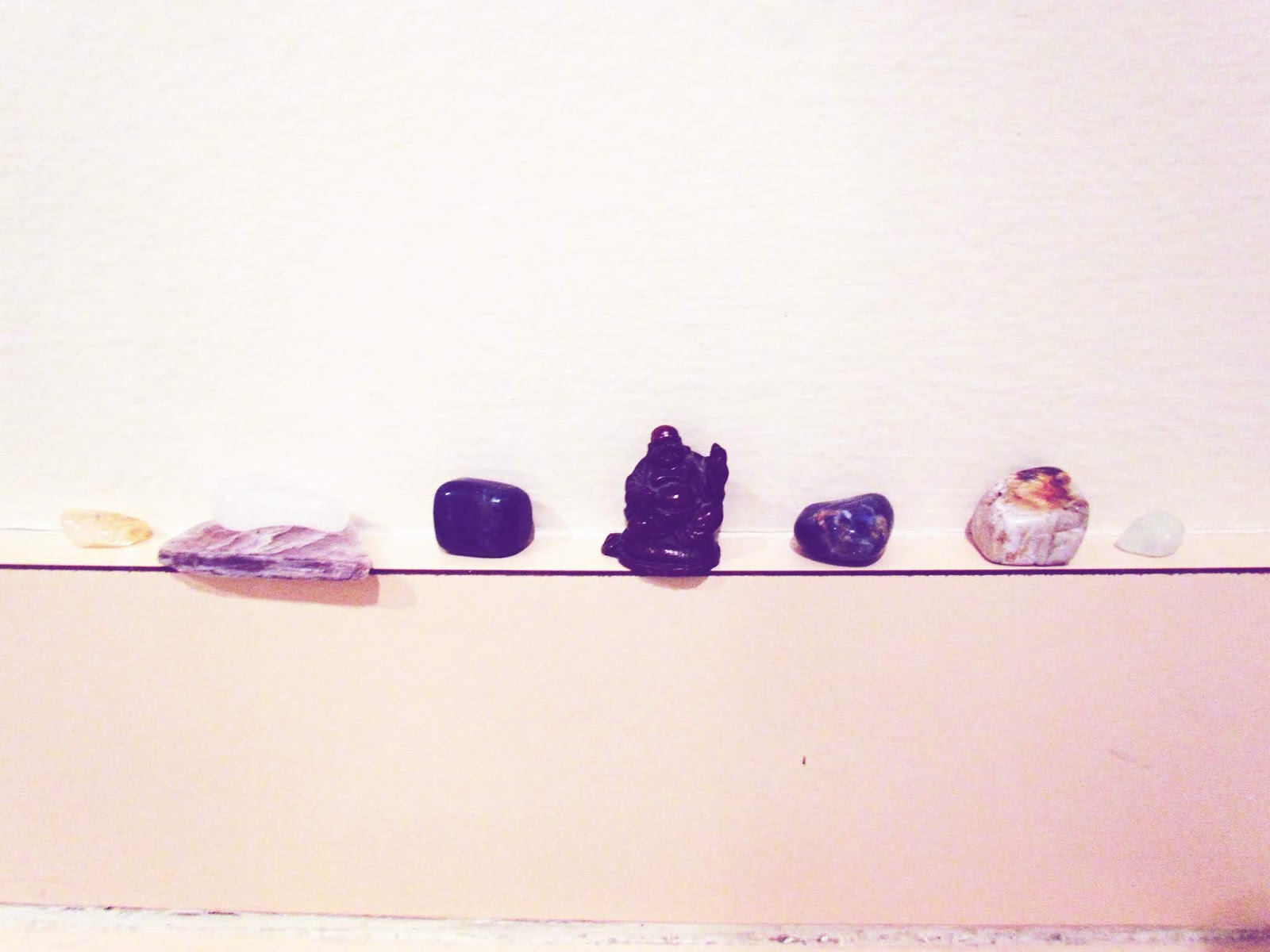 Gemstone + Tiny Buddha Statue Zen Flat Lay Arrangement in White
