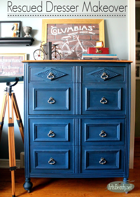 ECLECTIC BOHO CHIC RESCUED BLUE DRESSER MAKEOVER BEFORE AND AFTER PAINTED