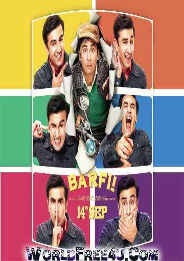 Poster Of Hindi Movie Barfi (2012) Free Download Full New Hindi Movie Watch Online At worldfree4u.com