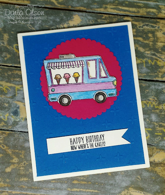 Handmade card created with Tasty Trucks Stampin' Up! shared by Darla Olson at Inkheaven
