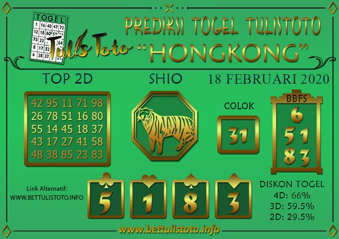 Prediksi Togel HONGKONG TULISTOTO 18 FEBRUARI 2020