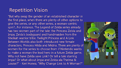Title: Repetition Vision. This slide features the quote from the following text and an image from The Legend of Zelda: Wind Waker of Link and the pirate Tetra looking curiously at each other.