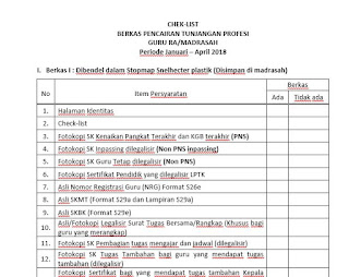 File Chek List Berkas Pencairan Sertifikasi Guru Madrasah