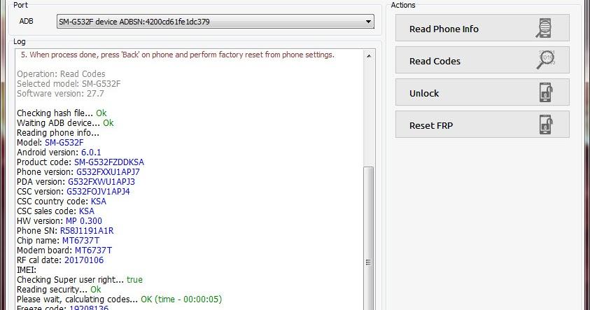 Samsung Galaxy Grand Prime Plus SM-G532F Z3x Pro Unlock Done
