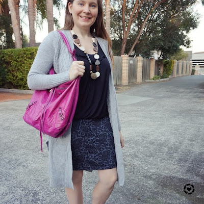 awayfromtheblue instagram grey maxi cardigan blue lace pencil skirt pink Balenciaga day bag