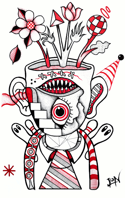 "A Series in Red and Black - Drawing 6 - ""Flower Pot Head with Lucky Tie"""