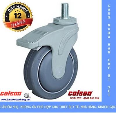 Bánh xe cao su càng nhựa ty ren Colson chịu lực 70 ~ 100kg www.banhxepu.net