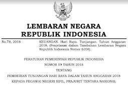 Peraturan Pemerintah RI Nomor 19 Tahun 2018 Tentang THR PNS Format PDF