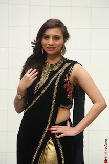 Priyanka Ramana in Beautiful Designer Black Saree At We Craft Elegance Expo Launch 040.JPG