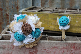 burlap and lace fabric wedding flowers