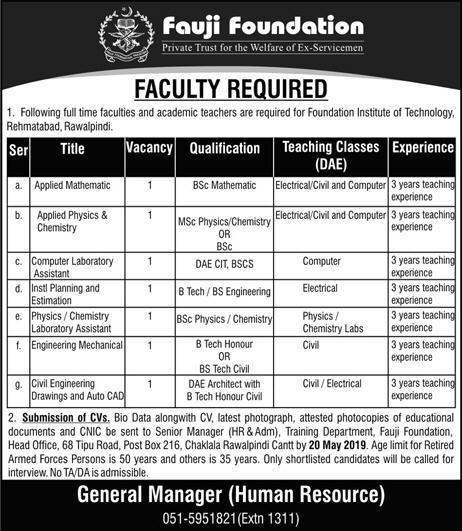Advertisement of  Faugi Foundation Jobs