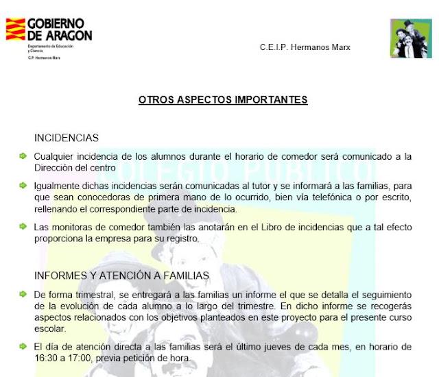AMPA HERMANOS MARX: PROYECTO DE COMEDOR 2018/2019