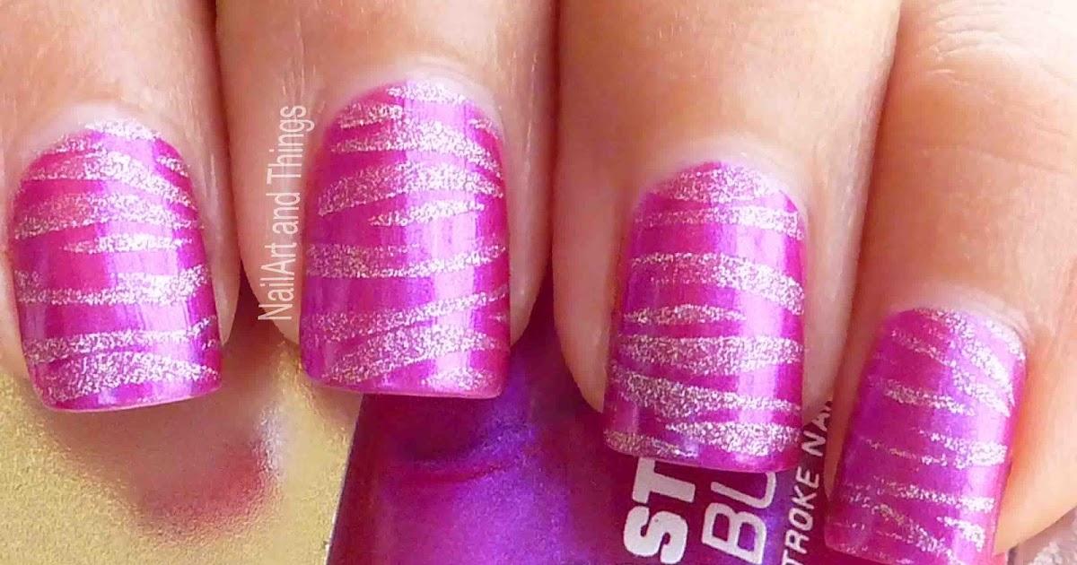 Nailart And Things: NailArt And Things: Pink Zebra + Lakme Nail Polish Purple Fix
