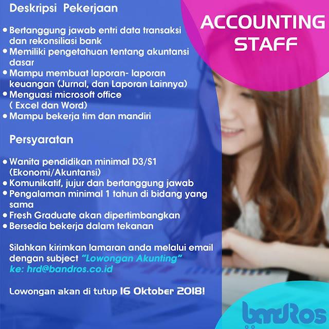 Lowongan Kerja Staff Accounting Bandros