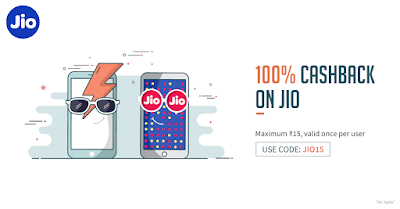 Freecharge Offer-100% Cash Back on Jio Recharge Upto Rs.15