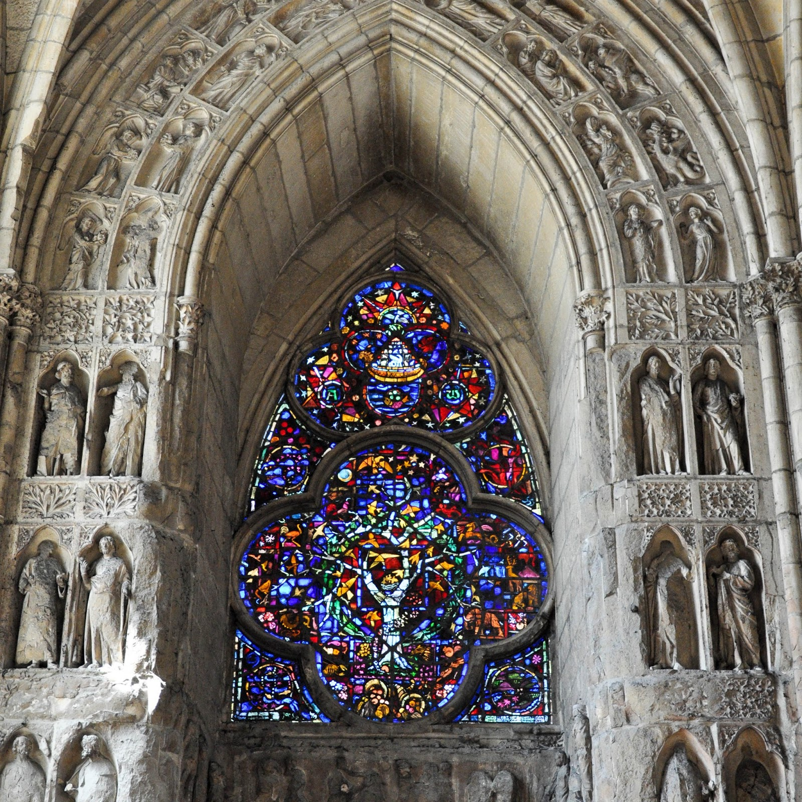 Close-up of stained glass window, Reims Cathedral, Reims, France