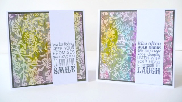 Floral Specialty Cards Colored with Gelatos with Stamped Sentiments